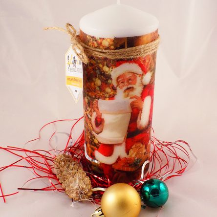 Christmas Large Pillar Santa Themed Candle