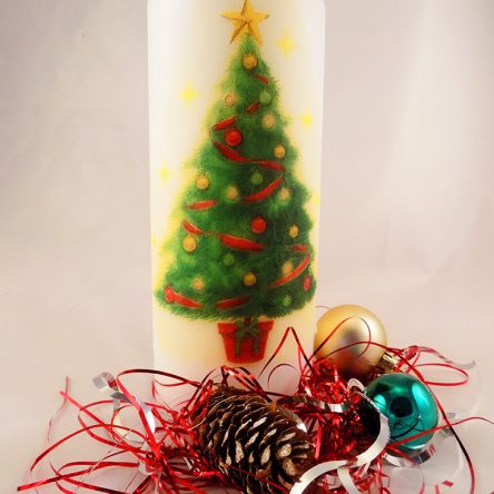 Christmas Large Pillar Candle with Christmas Tree